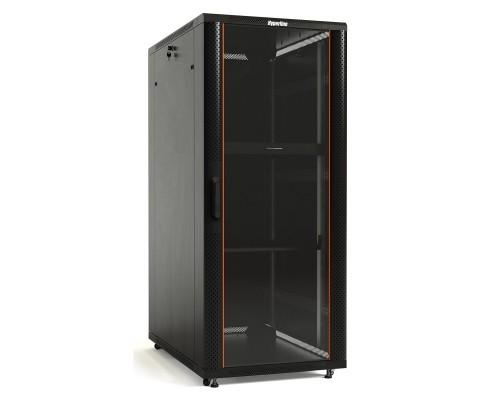Hyperline TTB-2266-AS-RAL9004 Шкаф напольный 19-дюймовый, 22U, 1166x 600х 600 мм, передняя стеклянная дверь со стальными перфорированными боковинами, задняя дверь сплошная, ручка с замком (5 мест)