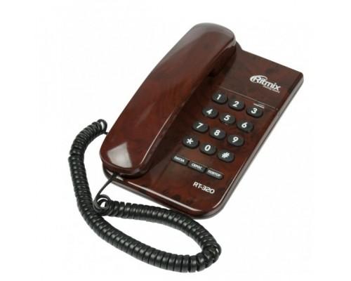 RITMIX RT-320 coffee marble Телефон проводной повторный набор номера, настенная установка,световой индикатор соединения, регулятор громкости