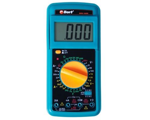 Bort BMM-1000N Мультиметр 91271143 Диапазон постоянного напряжения 0-1000 тип, диапазон постоянного тока 0-20 тип, диапазон переменного напряжения 0-750 тип, 0.3 кг, набор акс 4 шт