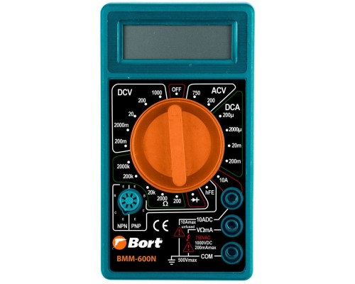 Bort BMM-600N Мультиметр 91271167 Диапазон постоянного напряжения 0-1000 тип, диапазон постоянного тока 0-10 тип, диапазон переменного напряжения 0-750 тип, 0.1 кг