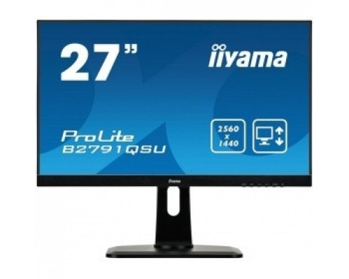IIYAMA 27 B2791QSU-B1 черный TN+film LED 2560x1440 1ms 16:9 1000:1 350cd 170гр/160гр DVI HDMI DisplayPort 2Wx2
