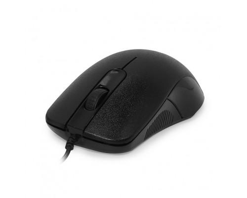 CBR CM 105 Black, проводная, оптическая, USB, 1200 dpi, 3 кнопки и колесо прокрутки, длина кабеля 1,8 м, цвет чёрный