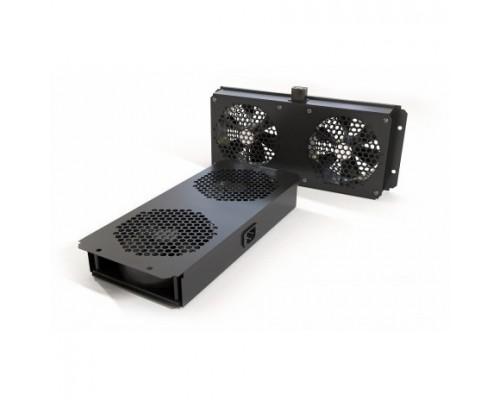 Монтажное оборудование Hyperline TFAB-T2FR-RAL9004 Модуль вентиляторный потолочный с 2-мя вентиляторами для установки шкафы серий TTC2, TTB TWB, подшипниками крепежными элементами, без кабеля питания, цвет черный