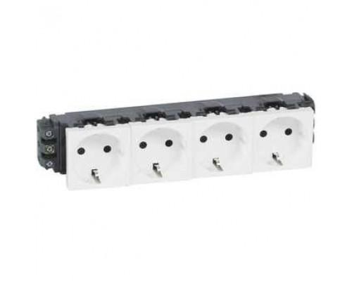 Legrand 077604 Розетка 4 x 2К+3 - Программа Mosaic - для монтажа на кабель-каналах - с винтовыми зажимами