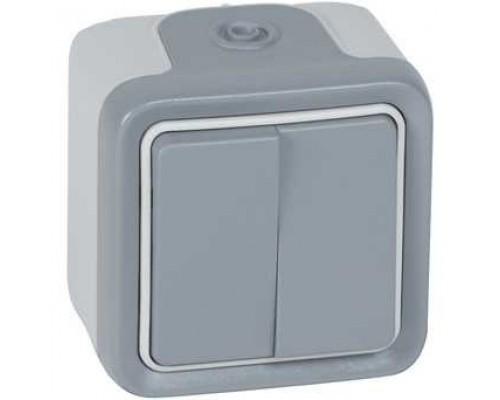 Legrand 069715 Двухклавишный переключатель на 2 направления - Программа Plexo - серый - 10 AX - 250 В