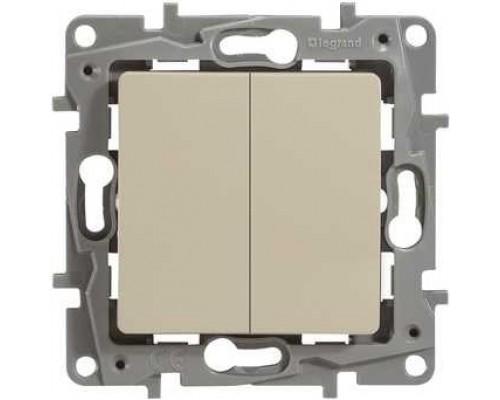 Legrand 672304 Выключатель двухклавишный с подсветкой - Etika - 10 A - 250 В~ - слоновая кость