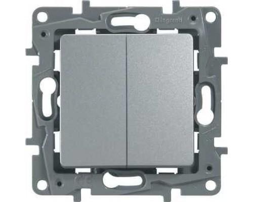Legrand 672412 Выключатель/переключатель двухклавишный - Etika Plus - 10 A - 250 В~ - алюминий