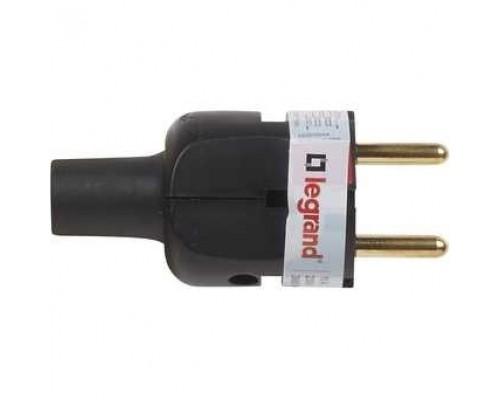 Legrand 050181 Вилка 2К - серия Элиум - 16 А - резина - прямой ввод - чёрный
