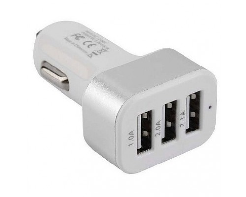 Cablexpert Адаптер питания 12V->5V 3-USB, 2.1/2/1A, белый (MP3A-UC-CAR17)