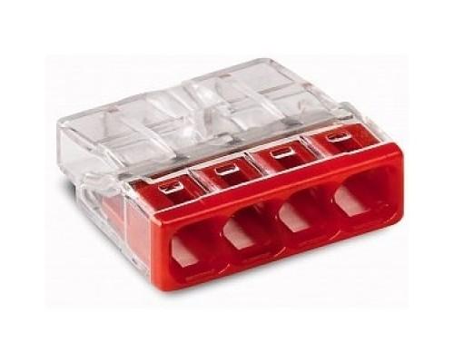 Wago 2273-204 Клемма 4-проводная (0,5-2,5 кв.мм) красная