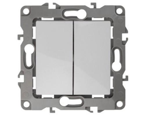 Эра Б0014651 12-1004-01 Выключатель двойной, 10АХ-250В, без м.лапок, Эра12, белый