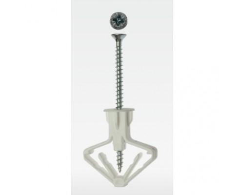 ЗУБР полипропиленовый, тип Бабочка, для пустотелых конструкций, с оцинкованным саморезом, 10 х 50 мм, 4 шт, Мастер 4-301326
