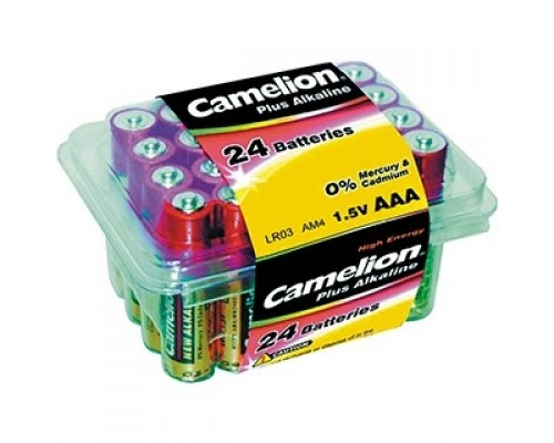 Camelion LR03 Plus Alkaline PB-24 (LR03-PB24, батарейка,1.5В) (24 шт. в уп-ке)