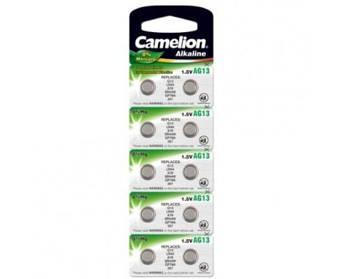 Camelion G13 BL-10 Mercury Free (AG13-BP10(0%Hg), 357A/LR44/A76 батарейка для часов) (10 шт. в уп-ке)