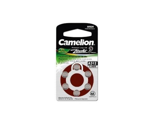 Camelion ZA312 BL-6 Mercury Free (A312-BP6(0%Hg), батарейка для слуховых аппаратов, 1.4 V,170mAh) (6 шт. в уп-ке)