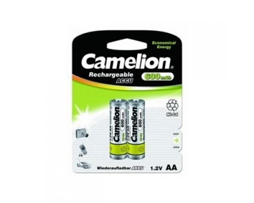 Camelion AA- 600mAh Ni-Cd BL-2 (NC-AA600BP2, аккумулятор,1.2В)