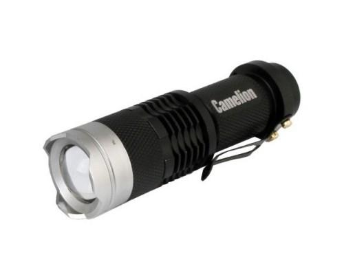 Camelion LED5135 (фонарь, черный, LED XPE, ZOOM, 3 реж 1XLR6 в компл., алюм.,откр. блистер)