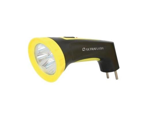 Ultraflash LED3804M (фонарь аккум 220В, черный/желтый, 4 LED, SLA, пластик, коробка)