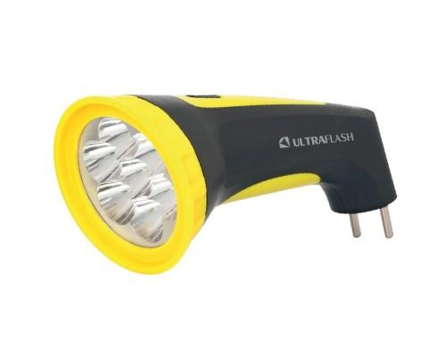 Ultraflash LED3807M (фонарь аккум 220В, черный/желтый, 7 LED, 2 режима, SLA, пластик, коробка)
