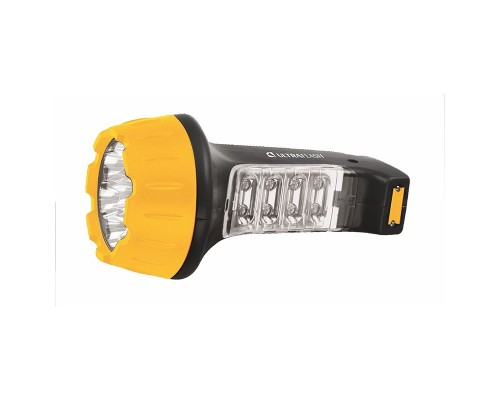 Ultraflash LED3818 (фонарь аккум 220В, черн /желт, 7+8 LED, 2 режима, SLA, пластик, коробка)