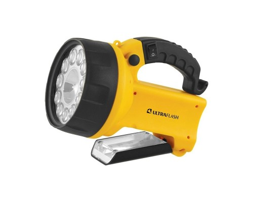 Ultraflash UF3753LED (фонарь аккум 220В/12В, желтый, 11 LED.+ галог, 4В 2Ач,,пластик, коробка)