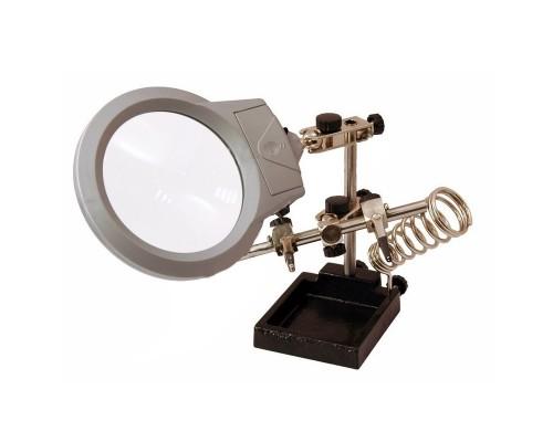 REXANT (12-0253) Держатель третья рука с лупой х2.5, подставкой под паяльник и LED подсветкой