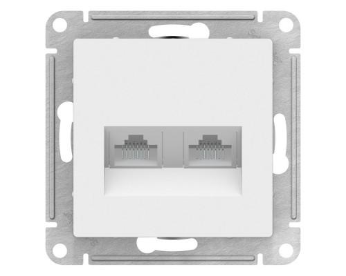 Schneider-electric ATN000185 ATLASDESIGN РОЗЕТКА двойная компьютерная RJ45+RJ45, кат.5E, механизм, БЕЛЫЙ