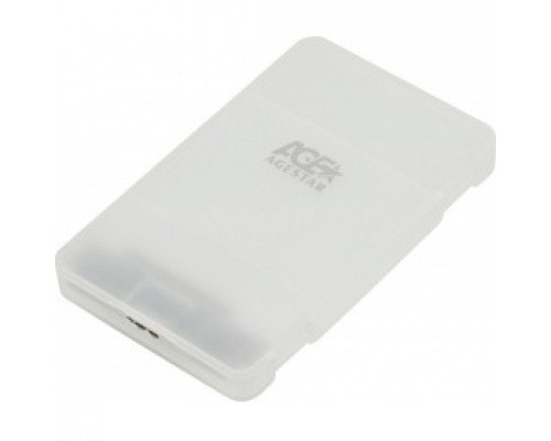 AgeStar 3UBCP3 (WHITE) USB 3.0 Внешний корпус 2.5 SATAIII HDD/SSD USB 3.0, пластик, белый, безвинтовая конструкция