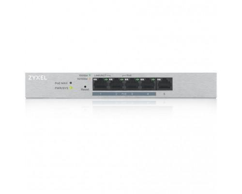 ZYXEL GS1200-5HPV2-EU0101F Smart PoE+ коммутатор GS1200-5HP v2, 5xGE (4xPoE+), настольный, бесшумный, с поддержкой VLAN, IGMP, QoS и Link Aggregation, бюджет PoE 60 Вт
