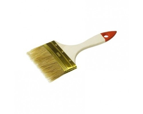 Кисть плоская ЗУБР УНИВЕРСАЛ-ОПТИМА, светлая щетина, деревянная ручка, 100мм 01099-100_z01