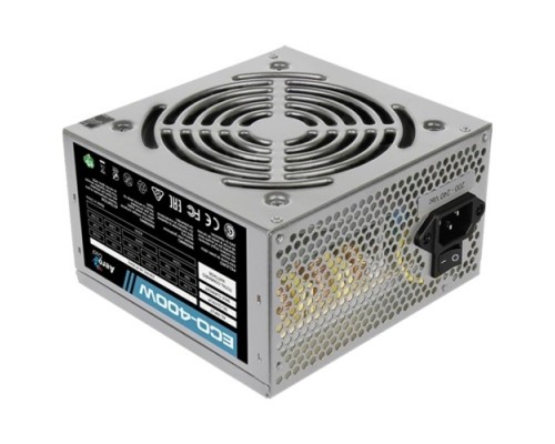 Блок питания Aerocool 400W Retail ECO-400W ATX v2.3 Haswell, fan 12cm, 400mm cable, power cord, 20+4P, 12V 1x PCI-E 6P, 2x SATA, PATA, FDD