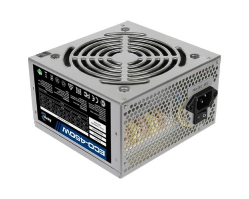 Блок питания Aerocool 450W Retail ECO-450W ATX v2.3 Haswell, fan 12cm, 400mm cable, power cord, 20+4P, 12V 1x PCI-E 6P, 2x SATA, PATA, FDD