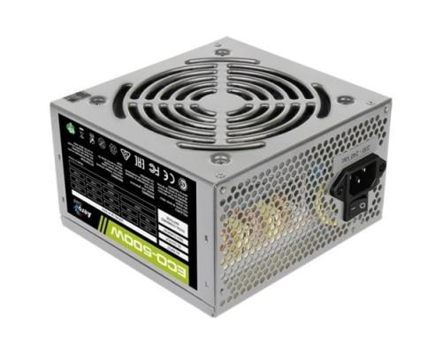 Блок питания Aerocool 500W Retail ECO-500W ATX v2.3 Haswell, fan 12cm, 400mm cable, power cord, 20+4P, 12V 1x PCI-E 6P, 3x SATA, 2x PATA, FDD