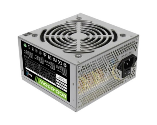 Блок питания Aerocool 550W Retail ECO-550W ATX v2.3 Haswell, fan 12cm, 400mm cable, power cord, 20+4P, 12V 4+4P, 1x PCI-E 6+2P, 4x SATA, 3x PATA, F