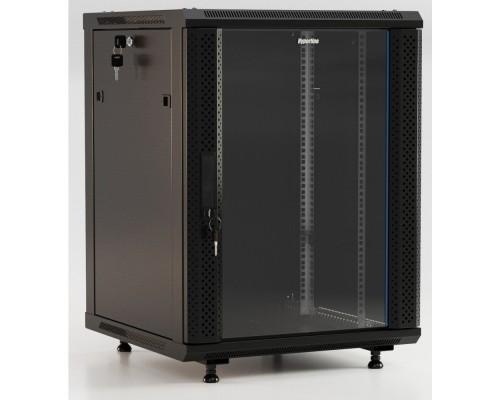 Hyperline TWB-FC-1266-GP-RAL9004 Шкаф настенный 19-дюймовый (19), 12U, 650x600x600 мм, стеклянная дверь с перфорацией по бокам, ручка с замком, с возможностью установки на ножки, цвет черный RAL 9004