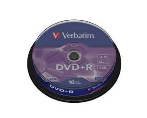 Verbatim и DVD+R 4.7Gb 16х, 10 шт, Cake Box (43498)