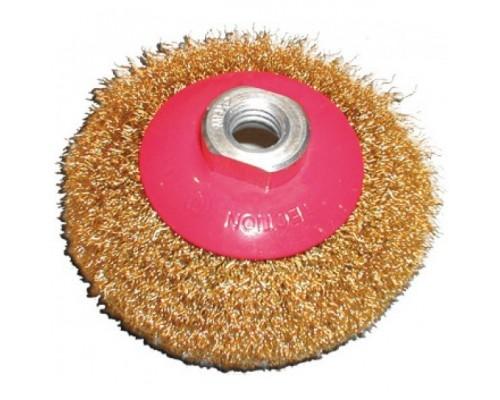 FIT IT Корщетка-колесо с наклоном, гайка М14, стальная волнистая латунированная проволока 115 мм 39051