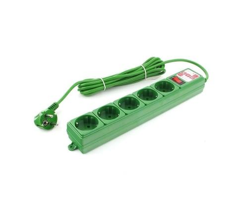 PowerCube Фильтр-удлинитель (SPG-MXTR-13) 3м, 5 розеток, 10А/2,2кВт, зеленый