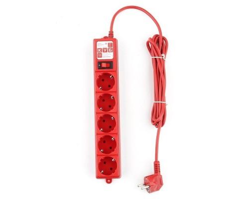 PowerCube Фильтр-удлинитель (SPG-MXTR-14) 3м, 5 розеток, 10А/2,2кВт, красный