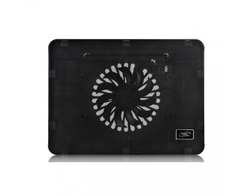 DEEPCOOL WIND PAL MINI Подставка для охлаждения ноутбука (14шт/кор, до 15.6, тонкая металическ. панель, LED подсветка, USB порт, 140мм вентилятор, регулятор скор-ти, черный) Retail box