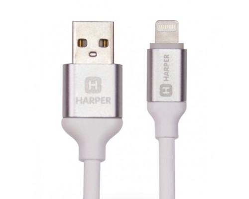 Harper Силиконовый Кабель для зарядки и синхронизации USB - Lightning, SCH-530 white (1м, способны заряжать устройства до 2х ампер)
