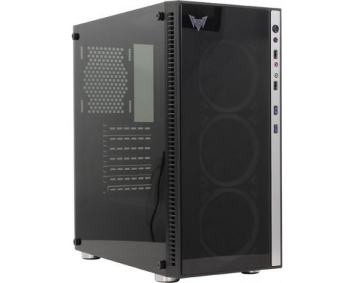 CROWN Micro CMC-GS10B (CM-PS600W PLUS) , Gaming, Midi Tower,Размеры (Ш*Г*В) 205*455*410мм; сталь 0,5мм SPCC,закалённое стекло 4мм(левая+фр