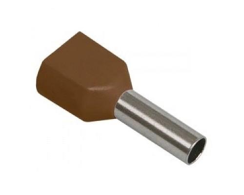 Iek UTE10-D2-4-100 Наконечник-гильза НГИ2 1,5-8 с изолированным фланцем (коричневый) (100 шт)