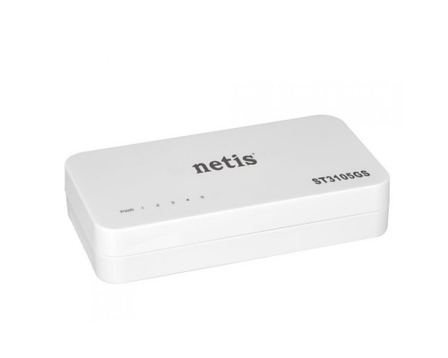 Сетевое оборудование Netis ST3105GS Коммутатор, неуправляемый, 5-портовый гигабитный 10/100/1000 Мбит/с, настольный, пластиковый корпус