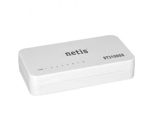 Сетевое оборудование Netis ST3108GS Коммутатор, неуправляемый, 8-портовый гигабитный 10/100/1000 Мбит/с, настольный, пластиковый корпус
