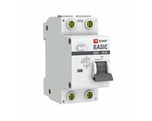 EKF DA12-25-30-bas Дифференциальный автомат 1P+N 25А 30мА тип АС х-ка C эл. 4,5кА АД-12 EKF Basic