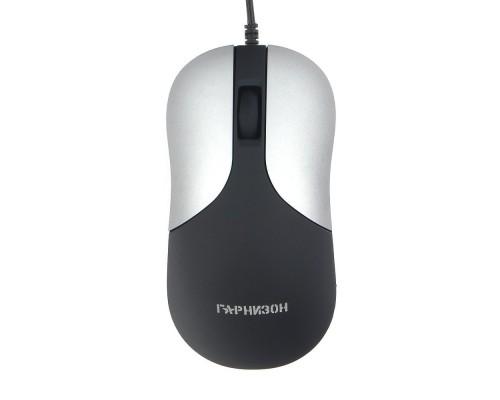 Гарнизон Мышь GM-215, USB, чип- Х, черный/серый, soft touch, 1000 DPI, 2кн.+колесо-кнопка