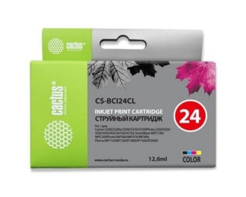 Расходные материалы Cactus BCI-24CL набор картриджей для Canon S200/S200x/S300/S330/S330/Photo i250/i320/i350/i450/i455/i470D/i475D/SmartBase MPC190/200 Photo/MP360/370/390/Pixma MP110/130/iP1000/iP1500/, многоцветный