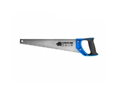 СИБИН Ножовка по дереву (пила) 400 мм, шаг 5 TPI (4,5 мм), 15055-40