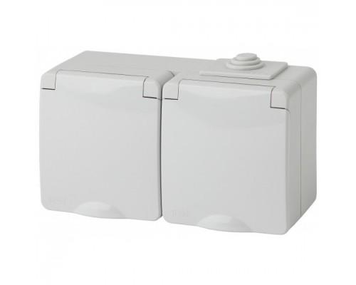 ЭРА Розетки, выключатели Эра Б0035991 11-2603-03 Розетка 2x2P+E гориз. IP65, 16A-250В, ОУ, серый